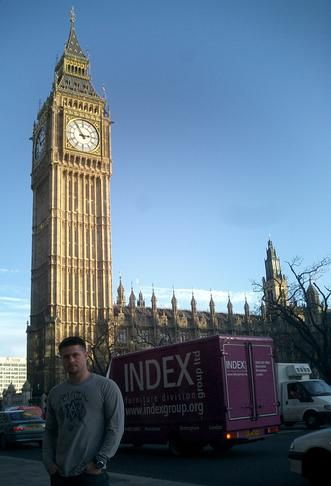 Todd Fox with Big Ben in London