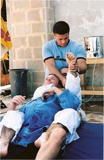 Todd Fox teaching Jiu Jitsu to Guy Ritchie and Simon Purple Hayes on the set of Swept Away.